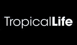 The words Tropical Life with the black background color