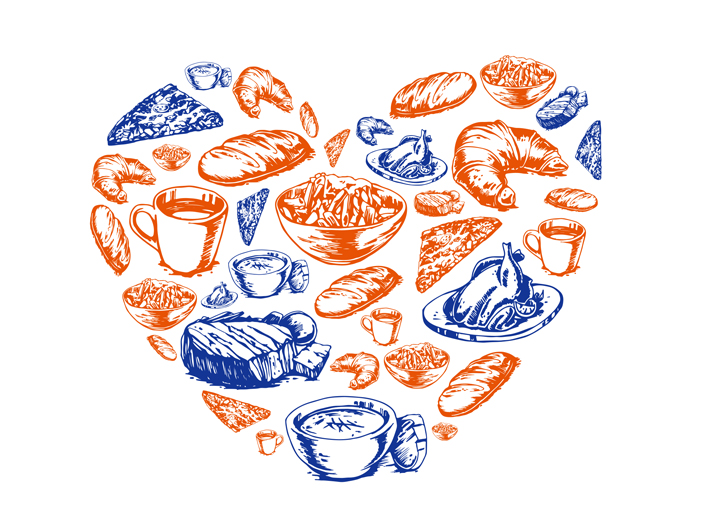 a collections of drawings of a variety of tasty foods