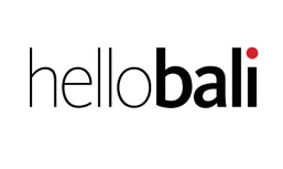 The word Hello Bali in black and red