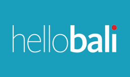 the word hellobali with the blue color background
