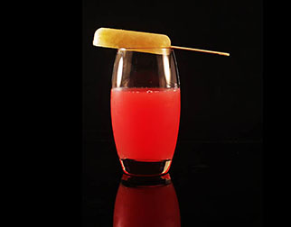 a glass of blush drink offered during the fine dining event at Cuca restaurant in Bali
