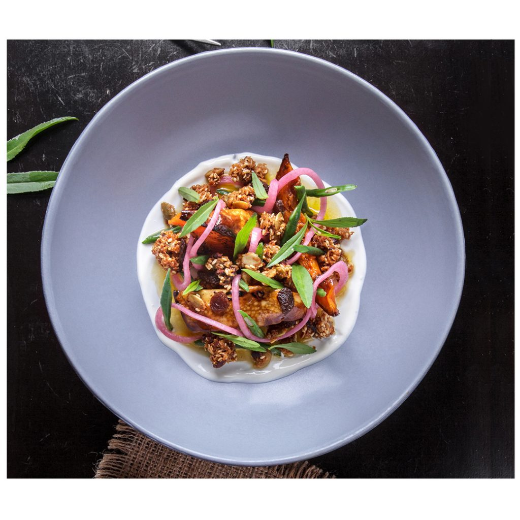 Delicious honey baked pumpkin salad presented by one of the best restaurants in Bali