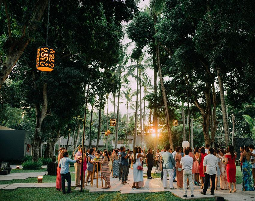 celebrating wedding ceremony at Cuca Bali restaurant