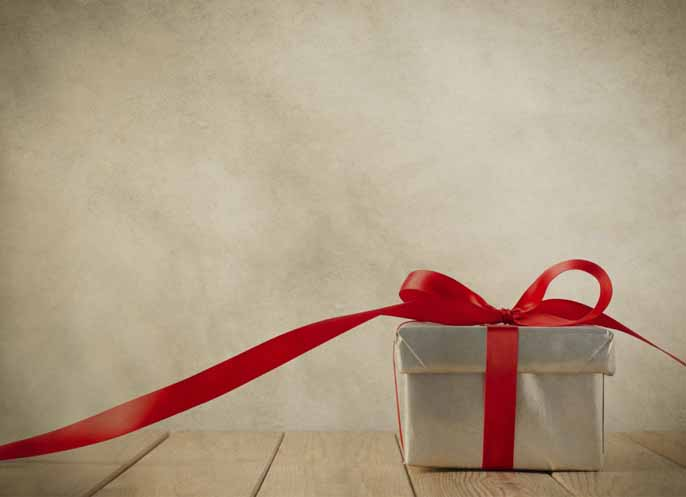 beautiful gift box with a beautiful red tape