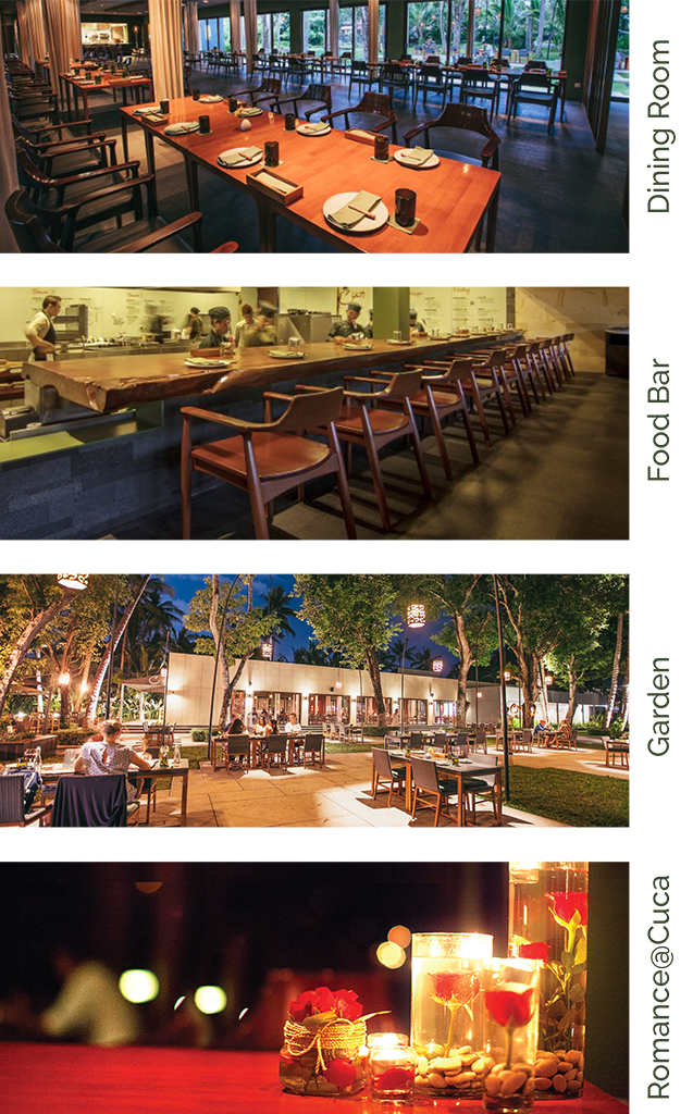 a collection of dining spaces pictures in Cuca Bali restaurant