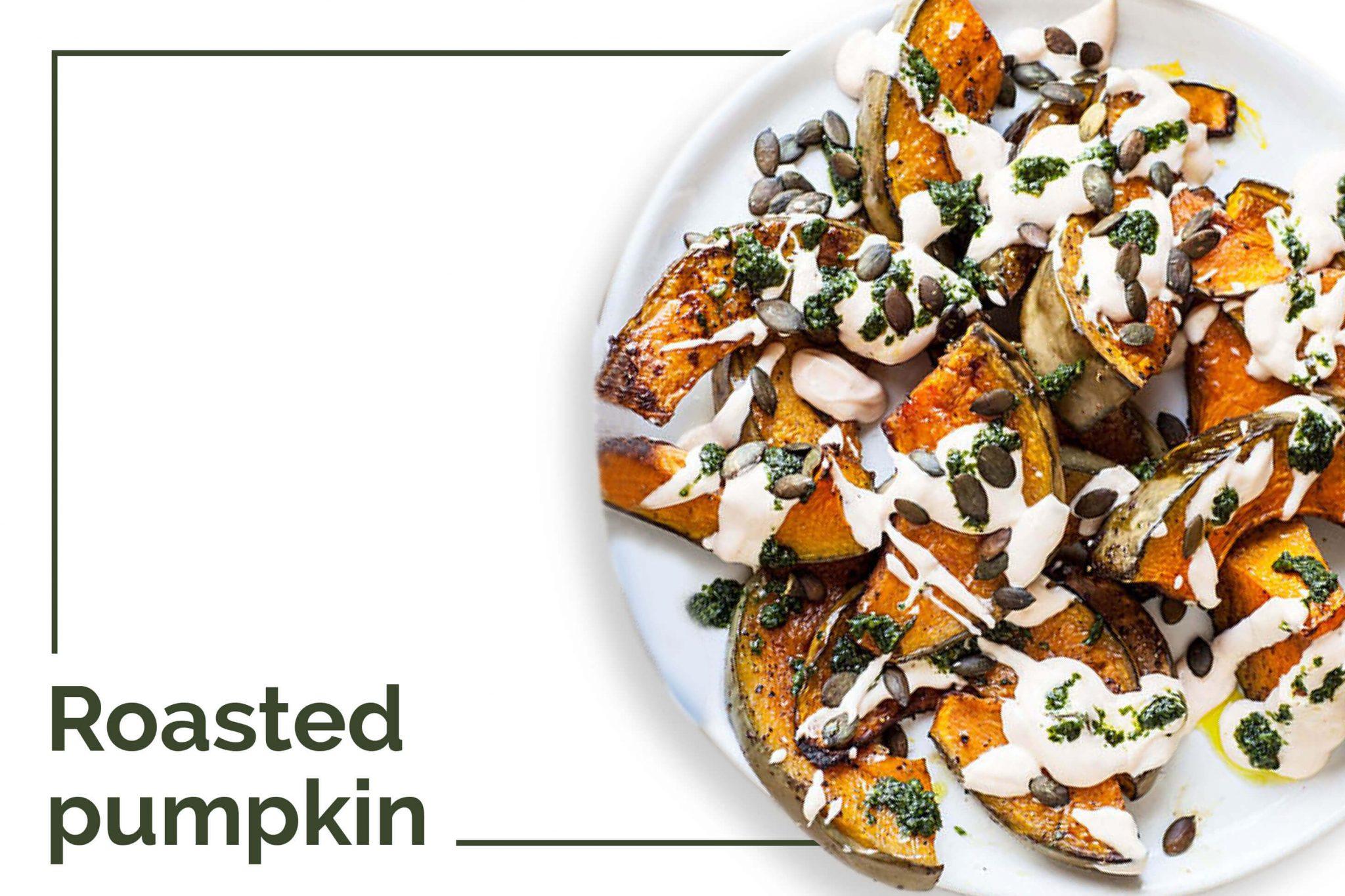 Tasty roasted pumpkin in white plate