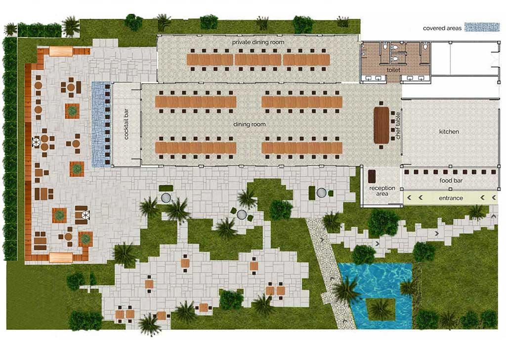 the floor plan of Cuca Restaurant Bali